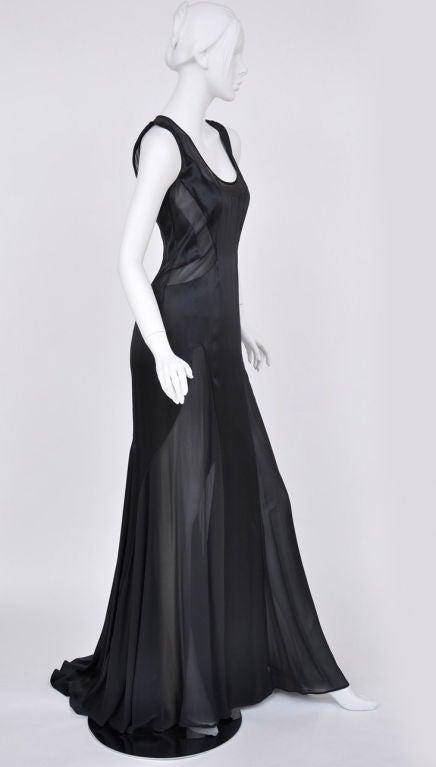 Versace black chiffon silk gown 5
