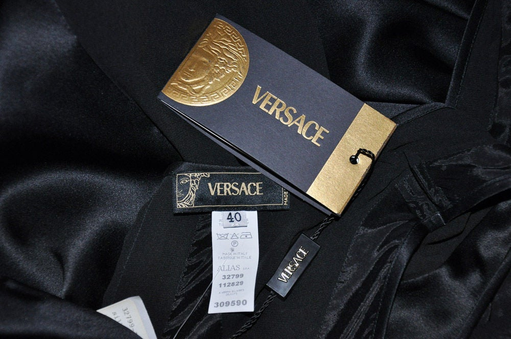 Versace black chiffon silk gown 9