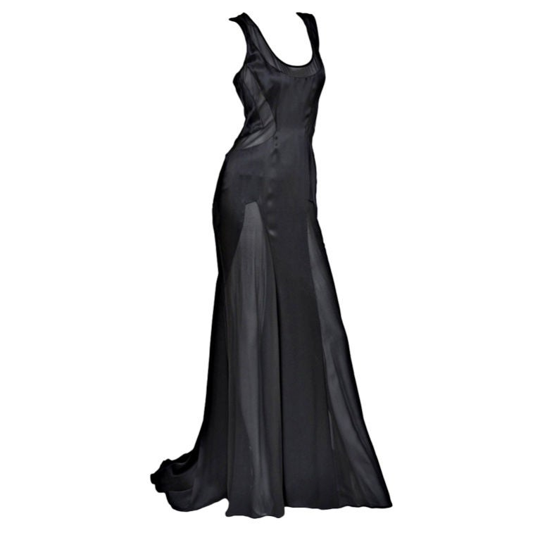 Versace black chiffon silk gown