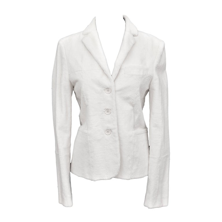 $14K Tom Ford for Gucci White Sheared Mink Fur Blazer