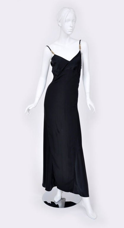 Black Gianni Versace Couture Vintage black silk gown with Swarovski crystals, 1990s For Sale