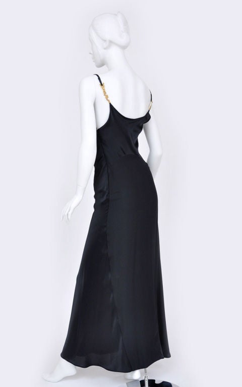 Women's Gianni Versace Couture Vintage black silk gown with Swarovski crystals, 1990s For Sale