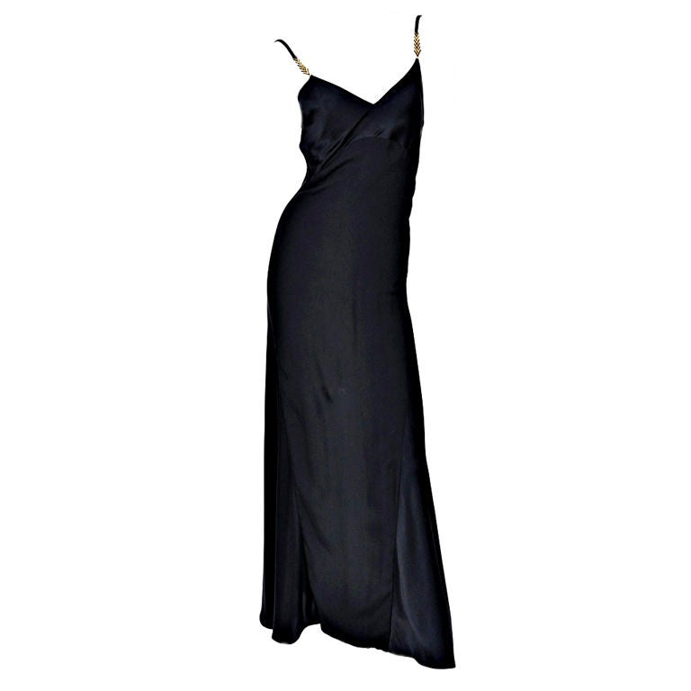 Gianni Versace Couture Vintage black silk gown with Swarovski crystals, 1990s For Sale