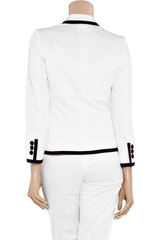 New Moschino Embellished White cotton-blend blazer 44 3