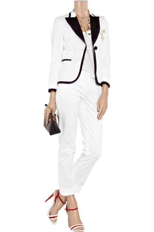 New Moschino Embellished White cotton-blend blazer 44 5