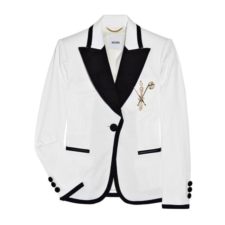 New Moschino Embellished White cotton-blend blazer 44 1