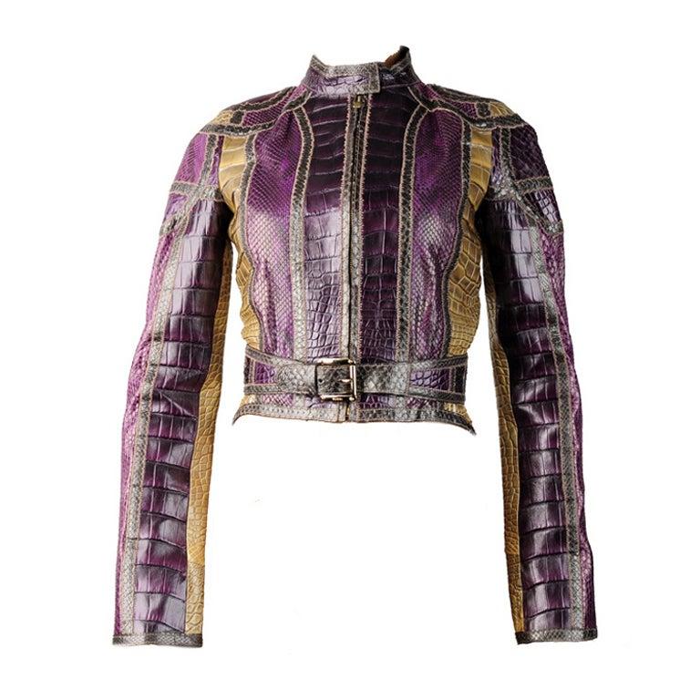 35 000 new gucci genuine crocodile and snakeskin jacket at 1stdibs. Black Bedroom Furniture Sets. Home Design Ideas