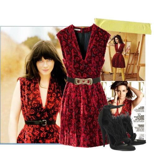 PRADA RED DEVORE VELVET DRESS FROM THE ELLE COVER 3