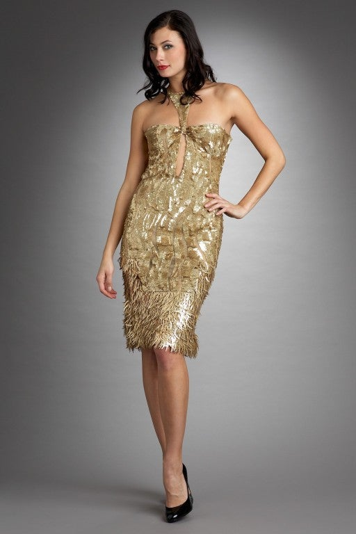Rare TOM FORD for GUCCI Gold Sequined Silk Dress 7