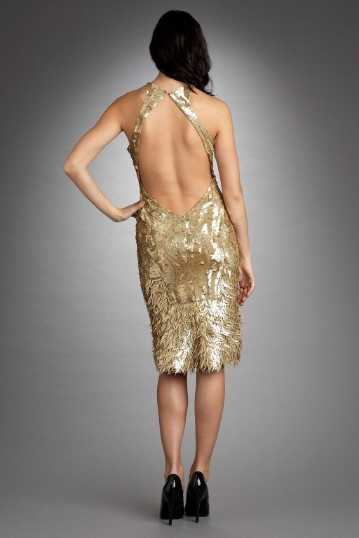 Rare TOM FORD for GUCCI Gold Sequined Silk Dress 8