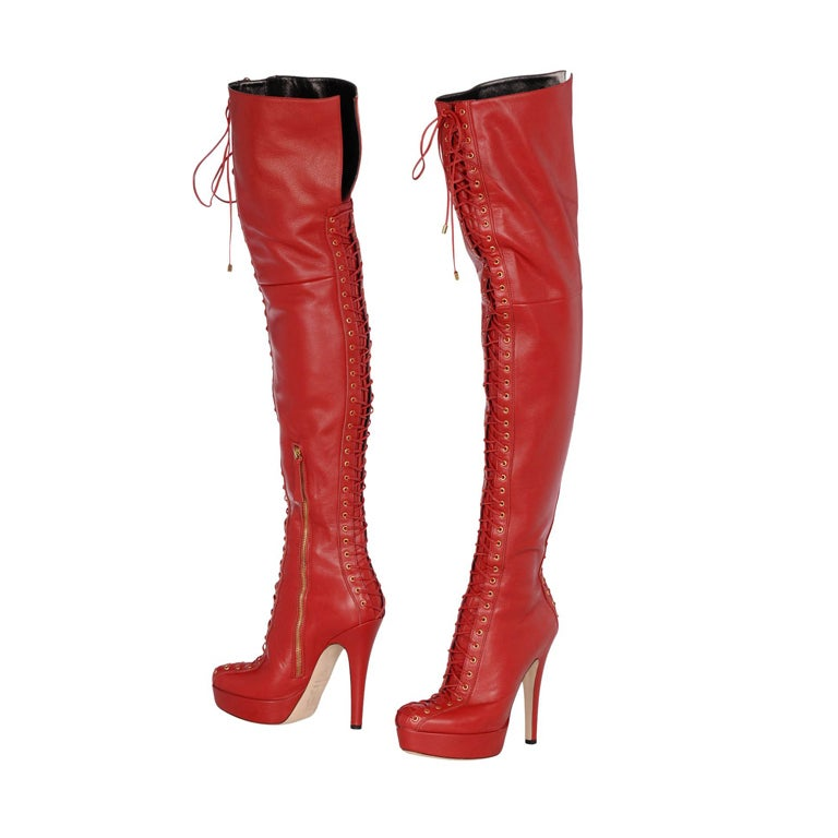 trussardi leather thigh high platform boots 39 9 at