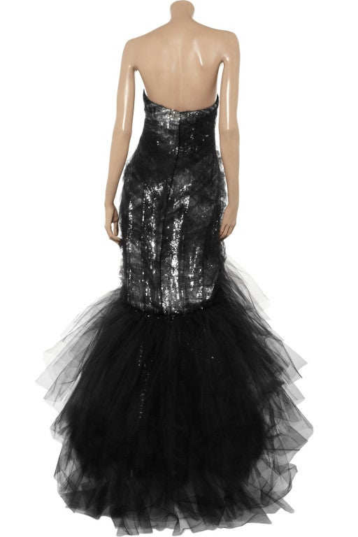 Gray $10,575 MARCHESA Sequined silk and tulle gown For Sale