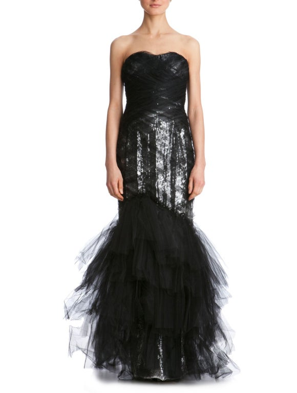 $10,575 MARCHESA Sequined silk and tulle gown In New never worn Condition For Sale In Montgomery, TX