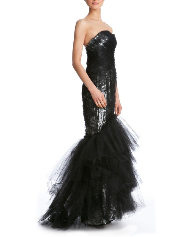 Women's $10,575 MARCHESA Sequined silk and tulle gown For Sale