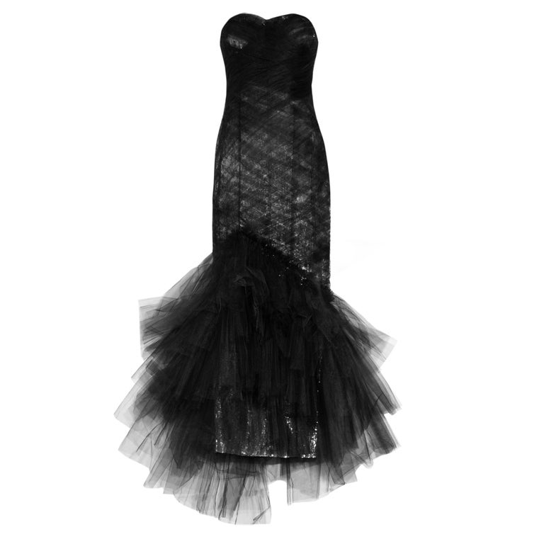 $10,575 MARCHESA Sequined silk and tulle gown For Sale