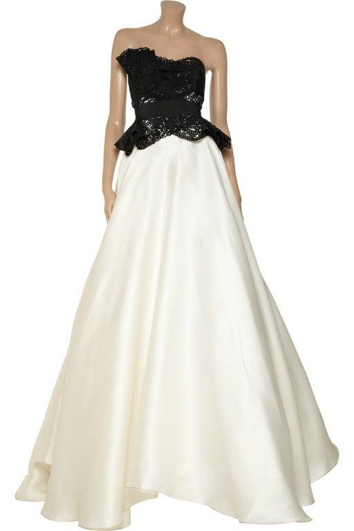 $10,730 MARCHESA Laser-cut silk-twill and organza gown 2