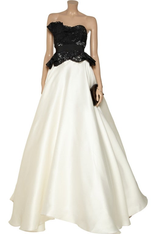 $10,730 MARCHESA Laser-cut silk-twill and organza gown 4