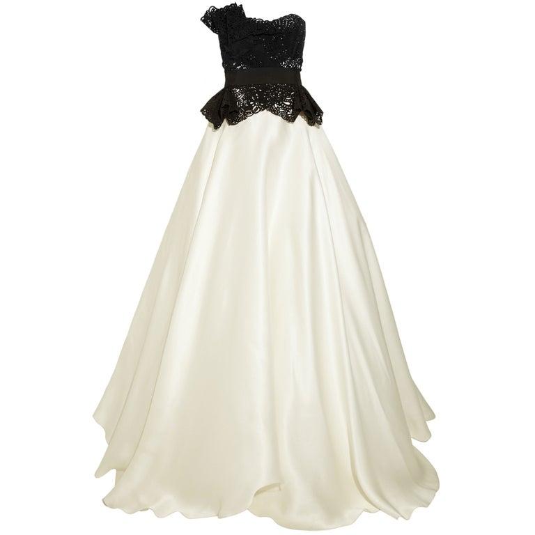 $10,730 MARCHESA Laser-cut silk-twill and organza gown 1