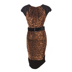 VIVICA FOX ANDREW GN LEOPARD DEVORE VELVET DRESS