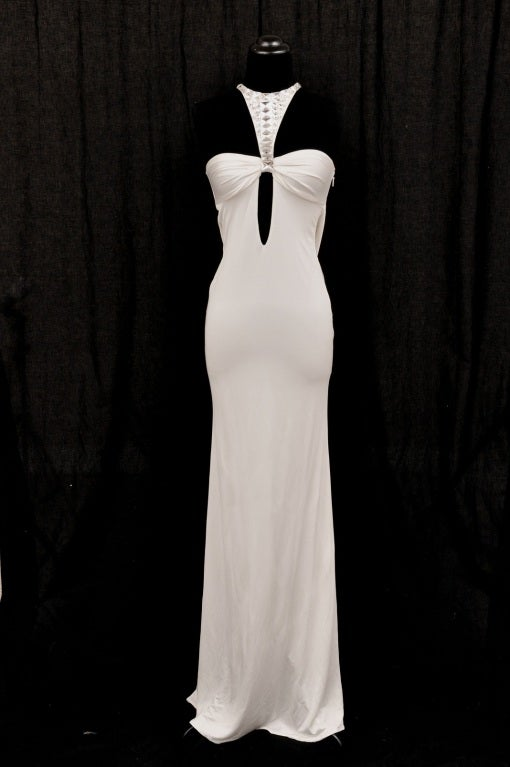 TOM FORD for GUCCI LONG WHITE DRESS with SWAROVSKI CRYSTALS 2