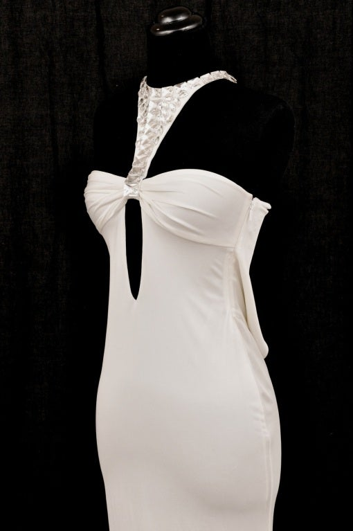 TOM FORD for GUCCI LONG WHITE DRESS with SWAROVSKI CRYSTALS 4
