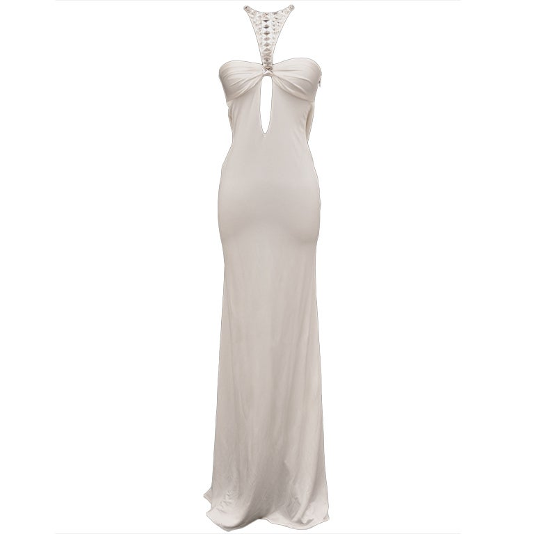 TOM FORD for GUCCI LONG WHITE DRESS with SWAROVSKI CRYSTALS 1
