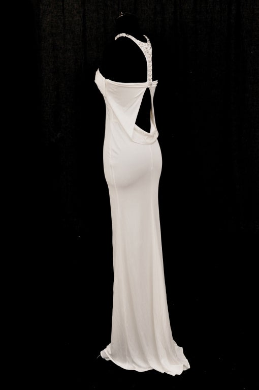 TOM FORD for GUCCI LONG WHITE DRESS with SWAROVSKI CRYSTALS 5