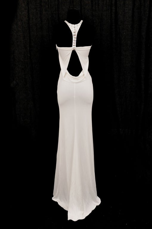 TOM FORD for GUCCI LONG WHITE DRESS with SWAROVSKI CRYSTALS 6