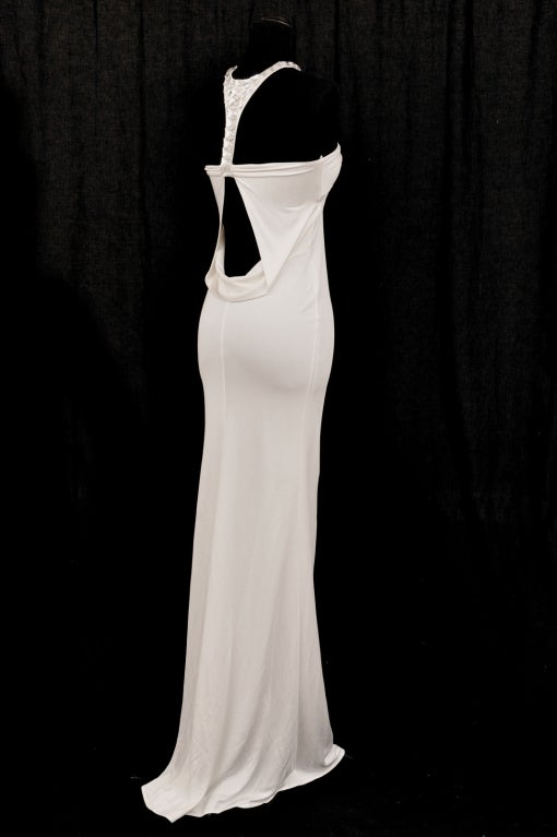 TOM FORD for GUCCI LONG WHITE DRESS with SWAROVSKI CRYSTALS 7