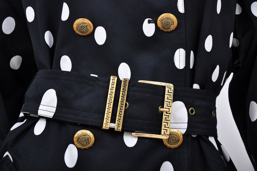 1990-s Gianni Versace Polka Dot Trench Coat For Sale 5