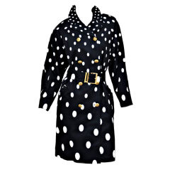 1990-s Gianni Versace Polka Dot Trench Coat