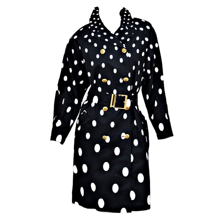 1990-s Gianni Versace Polka Dot Trench Coat