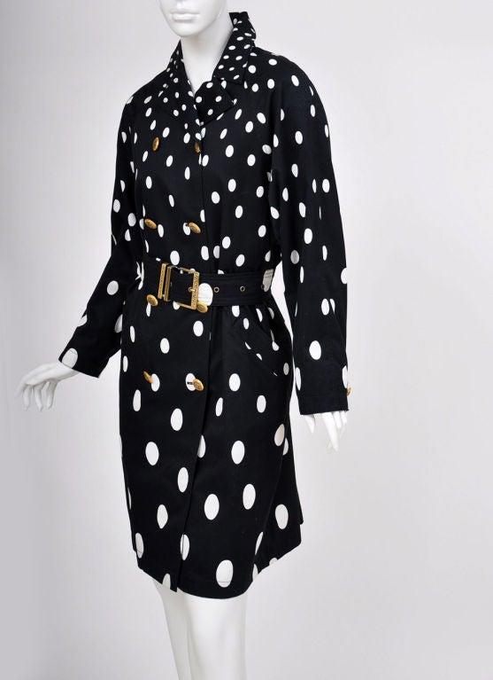 Black 1990-s Gianni Versace Polka Dot Trench Coat For Sale