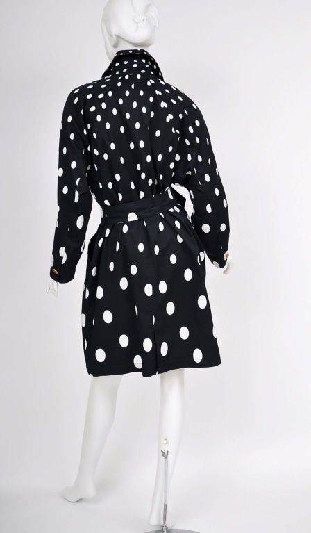 1990-s Gianni Versace Polka Dot Trench Coat In New never worn Condition For Sale In Montgomery, TX