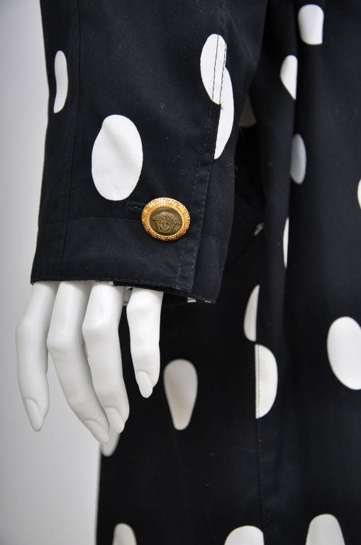 1990-s Gianni Versace Polka Dot Trench Coat For Sale 4