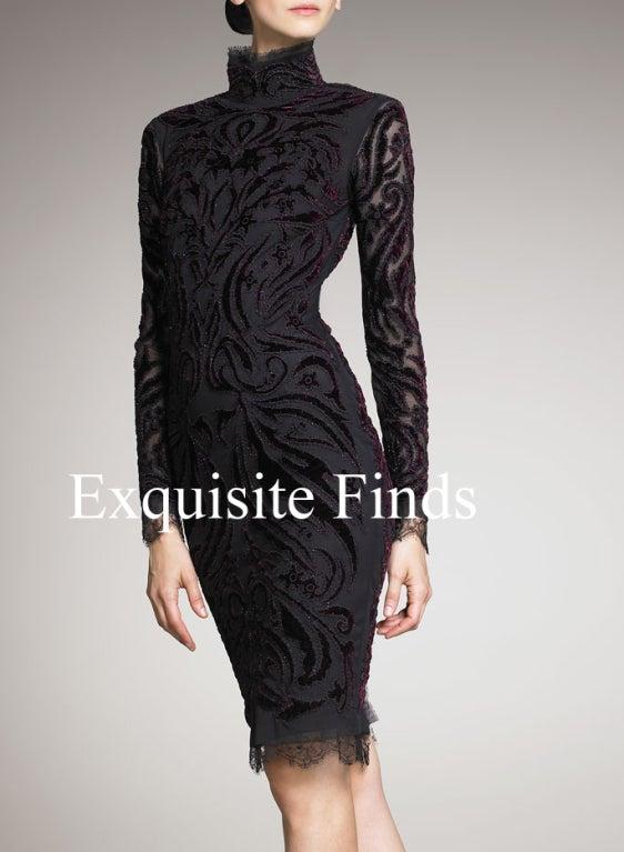 Black Emilio Pucci Bordeaux Velvet-Embroidered Dress For Sale