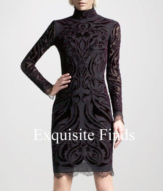 Women's Emilio Pucci Bordeaux Velvet-Embroidered Dress For Sale