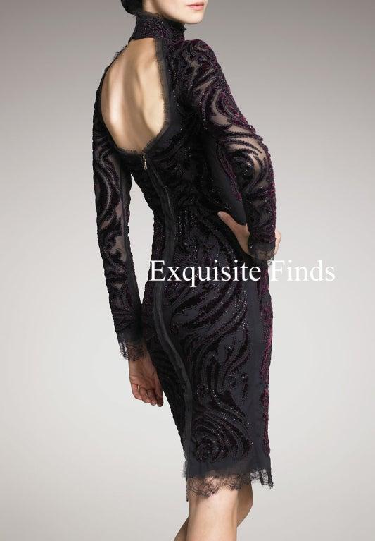 Emilio Pucci Bordeaux Velvet-Embroidered Dress For Sale 1