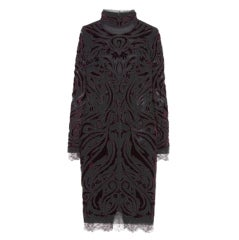 Emilio Pucci Bordeaux Velvet-Embroidered Dress