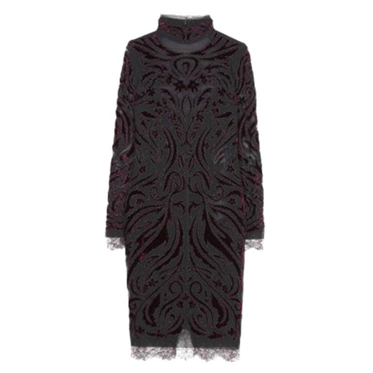 Emilio Pucci Bordeaux Velvet-Embroidered Dress For Sale