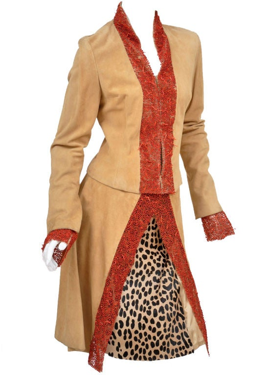 90-s Gianni Versace suede skirt suit with corals 2