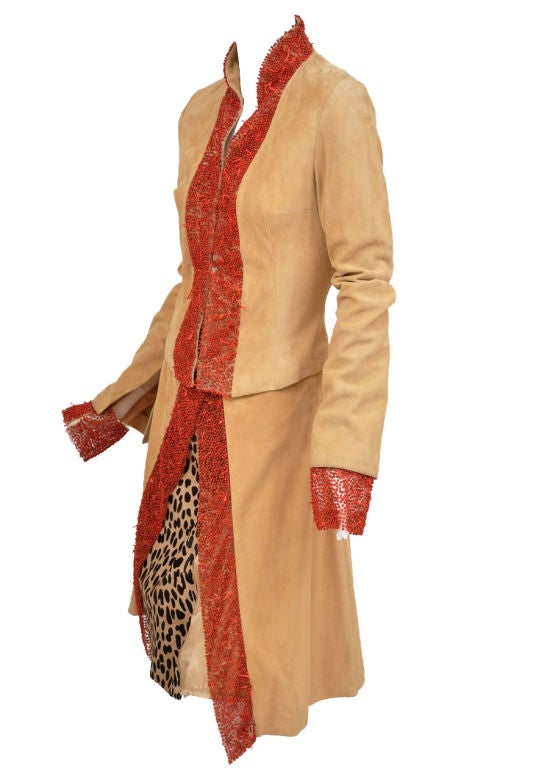 90-s Gianni Versace suede skirt suit with corals 3
