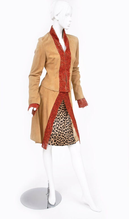 90-s Gianni Versace suede skirt suit with corals 4