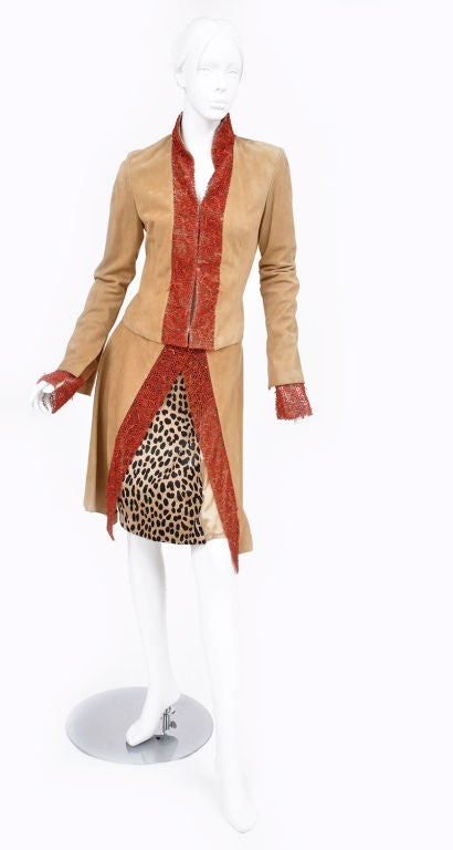 90-s Gianni Versace suede skirt suit with corals 5