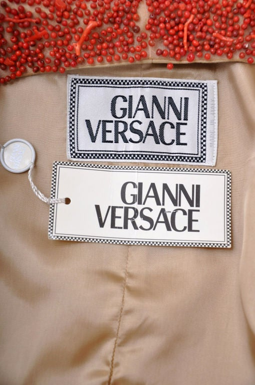 90-s Gianni Versace suede skirt suit with corals 8