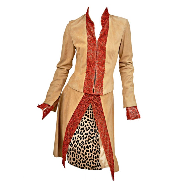 90-s Gianni Versace suede skirt suit with corals 1
