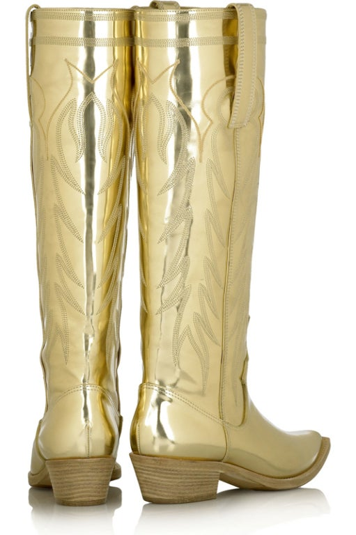 Givenchy Gold Leather Cowboy Boots 36 6 At 1stdibs