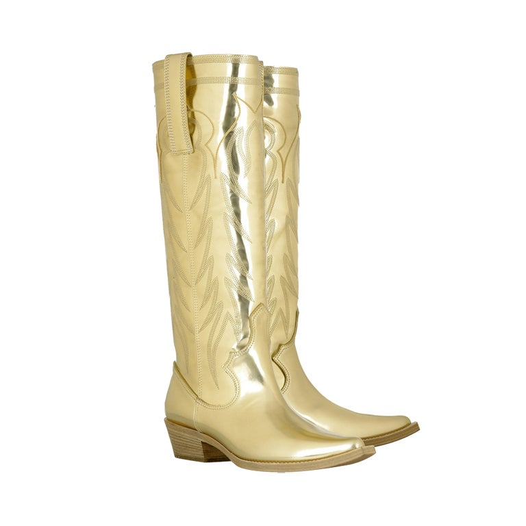 GIVENCHY GOLD LEATHER COWBOY BOOTS 36