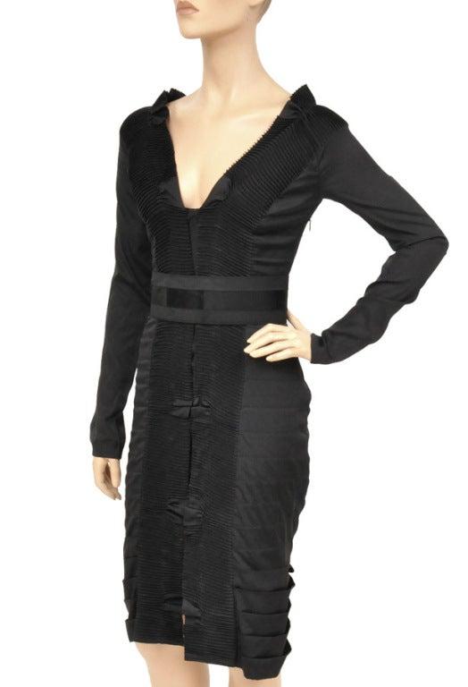 F/W 2004 TOM FORD for GUCCI BLACK PLEATED SILK DRESS 2