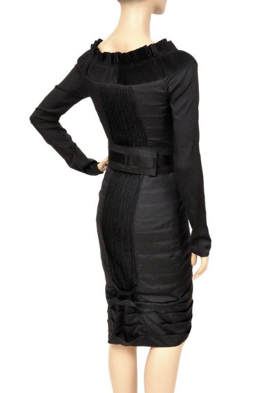 F/W 2004 TOM FORD for GUCCI BLACK PLEATED SILK DRESS 3